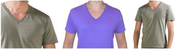 T-shirt uomo, manica corta, scollo a V profondo